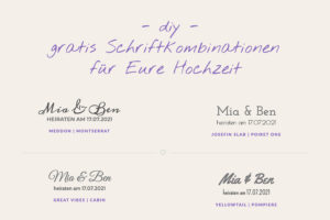 DIY Hochzeit Gratis Schriftartkombinationen Einladung